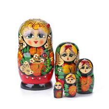 5pcs Handmade Painted Set Toy Creative Nesting Dolls Wishing Russian Doll