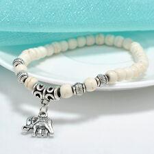 White Elegant 6mm Turquoise Beads Tibet Silver Elephant Pendant Elastic Bracelet