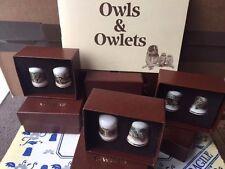 CHINA THIMBLE COLLECTORS SET TREVOR BOYER BIRD ARTIST OWLS OWLETS - MOTHERS GIFT