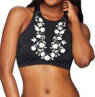 Coastal Blue Womens Swimwear Black Size Large L Embroidered Bikini Top $46- 433