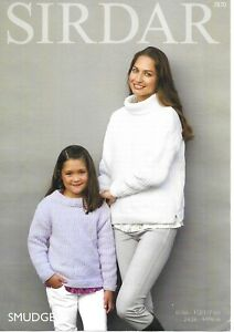 """Sirdar Chenille Knitting Pattern 7870, Round or Cowl Neck Jumpers in 26-46"""" Bust"""
