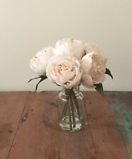 NEW ARTIFICIAL FAKE SILK FLOWER PEONY CREAM W CLEAR GLASS VASE ARTIFICIAL WATER