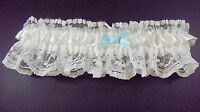 White Satin White lace with Blue Satin Bow Garter