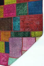 Modern Patchwork Stone Wash Used Look Perser Teppich Orientteppich 2,96 X 200