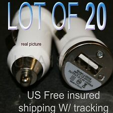 lot of 20 x Mini USB CAR White Charger Adapter for iPhone 3g 5 5S 4 4S Wholesale