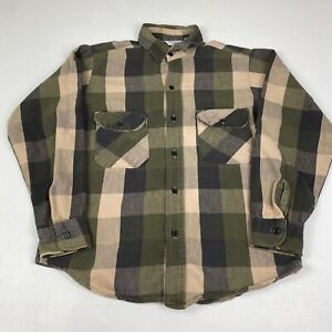 VTG FIVE BROTHER mens Flannel Plaid Shirt Medium Green/Multi Made in USA