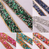 1 Yard Bling AB Rhinestone Stone Ribbon Wedding Dress Craft Sewing Decor Trim