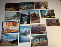 Lot of 13 Vintage Post Cards Union Pacific Railroad WY Yellowstone Route 66 CO