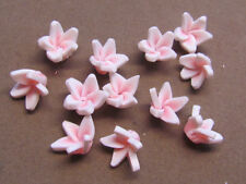 10 Handmade Polymer Clay 12mm White Pink Flower Beads(WA6A)