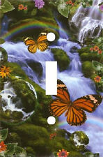 ORANGE BUTTERFLY WATERFALL RAINBOW LIGHT SWITCH PLATE COVER HOME DECOR