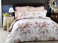 New Grand Atelier Melody 350TC Cotton Viscose Queen Size Quilt Doona Cover Set