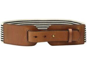 Fossil Genuine Leather & Webbing Stretch Waist Belt Black-Ivory Stripe S/M #8111