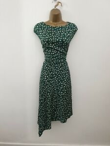 Jigsaw UK Size 14 Green Floral Smart Occasion Party Dress - Womens