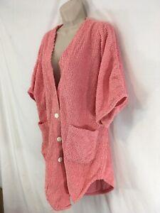 Intimate Moods Womens M Pink Vtg Turkish Cotton Chenille Button Frt Night Shirt