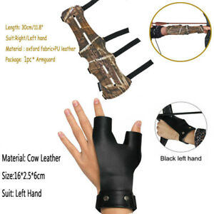 4 Straps Arm Guard Archery Finger Glove Leather Protector Hunting Recurve Bow