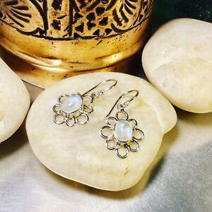Genuine 925 Sterling Silver Moonstone Gemstone Dangle Earrings