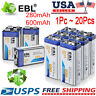 EBL Lot 280/600mAh Ni-MH/Li-ion 6F22 9V 9 Volt Rechargeable Batteries For Toy RC