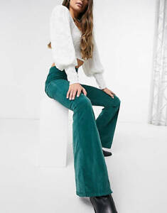 FREE PEOPLE DARK GREEN PULL ON CORD FLARES (SIZE 25) RRP £70