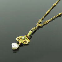 Art Nouveau Natural Pearl & Enamel 14K Gold Hand Made Filigree Necklace