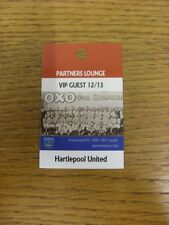 26/01/2013 Ticket: Portsmouth v Hartlepool United [Partners Lounge VIP Guest Pas