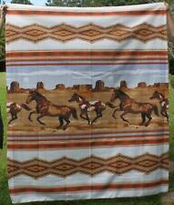 Vintage Twin Blanket Polyester Western Southwestern Horses Made USA