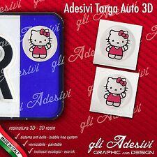 2 Adesivi Stickers bollino 3D Resinato targa Auto Moto HELLO KITTY White