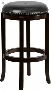 29'' High Backless Cappuccino Wood Barstool with Black Leather Swivel Seat - ...