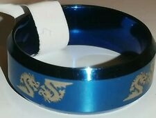 Bonito Azul. Anillo Acero Inoxidable. con dragones. tamaño 19mm de diámetro.