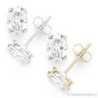 Clear Oval Cut Cubic Zirconia CZ Crystal Studs 925 Sterling Silver Stud Earrings