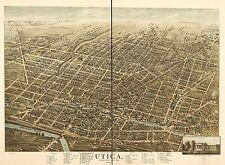 1873 H. BROSIUS BIRD'S EYE VIEW OF UTICA ONEIDA COUNTY, NEW YORK COPY POSTER MAP