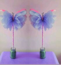 TWO  wedding party birthday  centrepieces tissue paper paper pompom butterflies