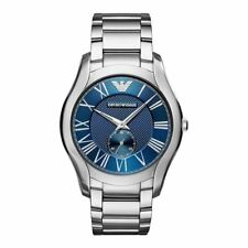 Emporio Armani Mens Gents Watch Silver Stainless Steel Strap Blue Dial AR11085