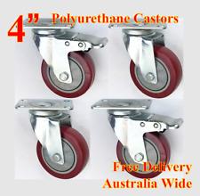 """4"""" PU castor wheels, heavy duty casters, 600kg still loading, trolley bench furn"""