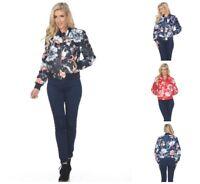 Women's Plus Size Zipper Raglan Sleeves Floral Bomber Jacket Black 3X