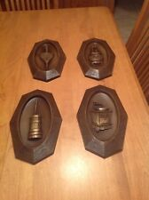 4 Vintage Dart Inc Wall Hanging Plaques Pot Belly Stove, Butter Churn & More