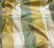 "Printed Silk DUPIONI Fabric Green & Gold Check 54"" By the Yard"
