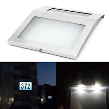Solar Power Doorplate LED Lamp House Address Number Wall Light Stainless Steel