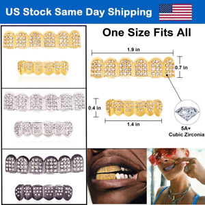 18K Gold/Silver/Black Plated Hip Hop Teeth Grillz Top Bottom Mouth Diamond Grill