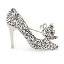 Clear Crystal High Heel Shoe Brooch In Silver Tone Metal - 40mm L