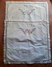 2 taies d'oreiller en toile de lin brodées main, monogramme EB (10)