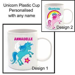 Personalised Kids Unicorn Design Plastic Cup Fun Birthday Christmas Gift Idea