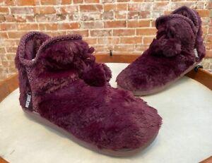 MUK LUKS Purple Grape Amira Faux Fur Slipper Boots Bootie New