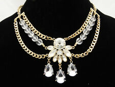 Brilliant New High End Gold Tone Rhinestone Statement Necklace by JTV #N52165GC