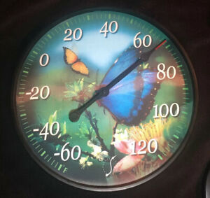 """Springfield Thermometer (11 1/2"""") Lenticular Butterfly (2 Changing Images)"""