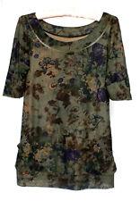 Youth Girls Dark Green Butterfly Floral Buttoned Sheer Short Sleeve Shirt Top L