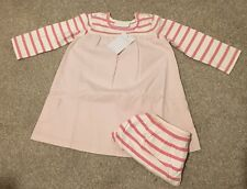 Baby Girls New Little White Company Denim Pink Dress Set  Age 6-9 Months