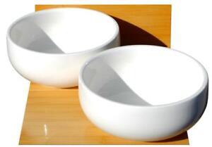 Deep white ceramic soup and noodle bowls L18cm x W18cm x H8cm for 2