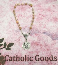 Saint St. Peregrine Chaplet (6 mm Red Line Marble Stone Bead)