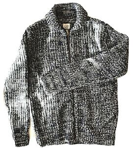 Gap Kids Boys Cardigan Sweater Cotton Wool Navy Blue Sz M (8-9)