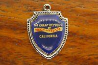 Vintage silver THE GREAT REPUBLIC OF ROUGH & READY CALIFORNIA SHIELD charm #E20
